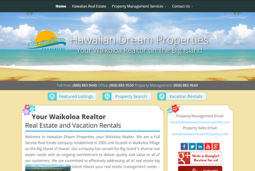 Hawaiian Dream Properties Web Development