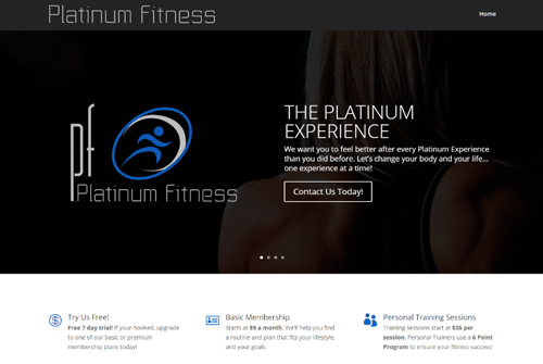 Platinum Fitness Web Design and Development