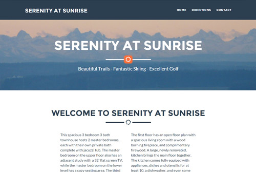Serenity at Sunrise Web Design